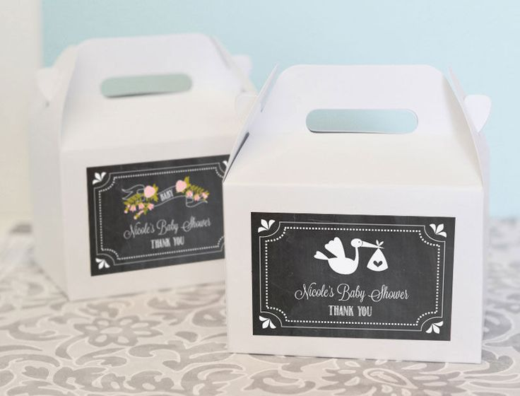 Chalkboard Baby Shower Personalized Mini Gable Boxes (set of 12). Thank loved ones for sharing in your special day with these Chalkboard Baby Shower Personalized Mini Gable Boxes. Patterned labels can be customized with one of our many baby designs, from little baby footprints to baby carriages. Choose just the right label to complement your baby shower style. These adorable, uniquely shaped favor boxes come complete with a convenient handle when assembled. Fill them with candies, cookies…