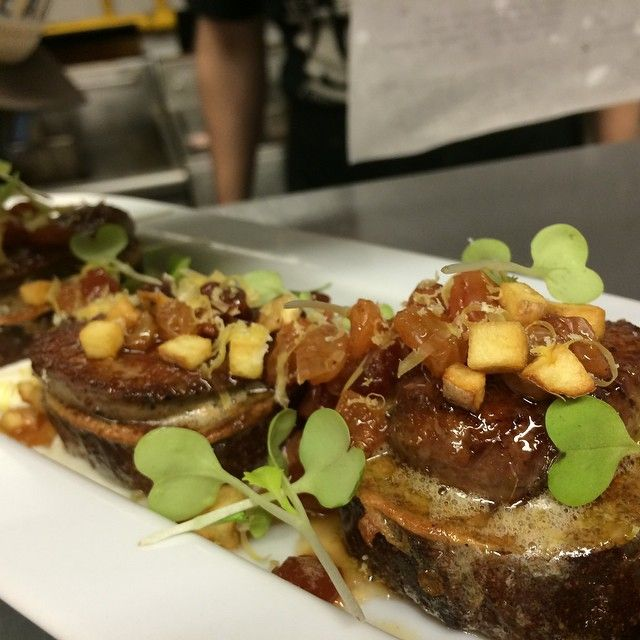 Foie toasts! New dish on our fall menu. Pumpernickel pain perdu, alska farms maple gastrique, seared foie gras, house mascarpone, cured egg yolk, sortilege whisky raisins, and crispy brunoise potatoes! #breakfastfordinner #twosixate