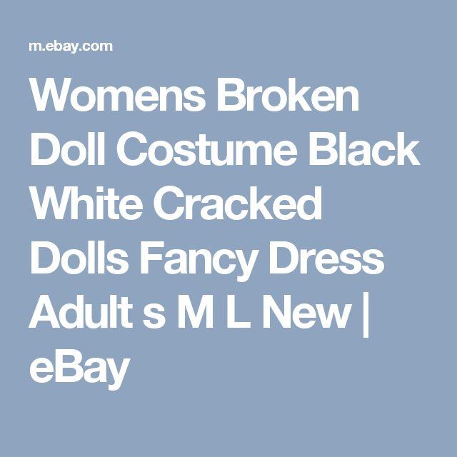 Womens Broken Doll Costume Black White Cracked Dolls Fancy Dress Adult s M L New | eBay