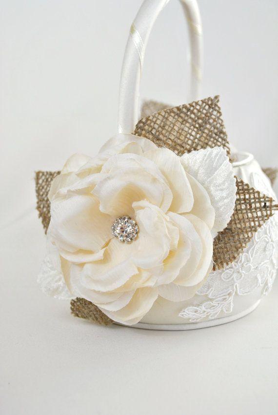 Ivory Flower Girl Basket Burlap Wedding Flower by weddingsandsuch, $50.00