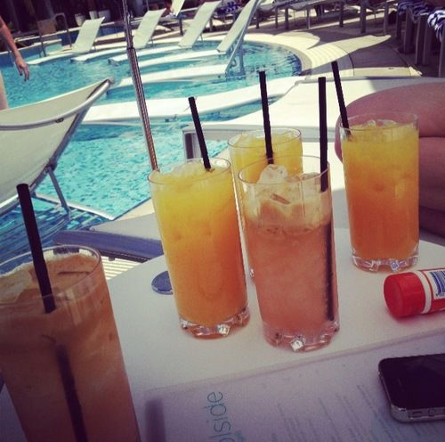 Drinks at the pool.