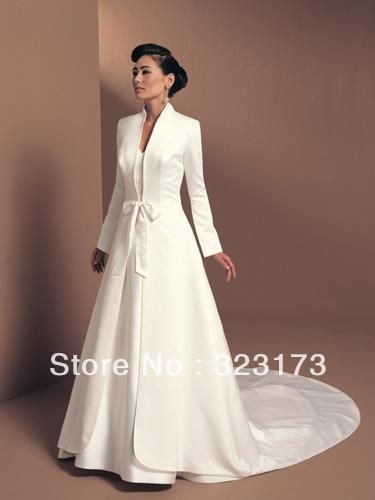 Long Sleeve Bridal Satin Jacket White Winter Wedding Coat
