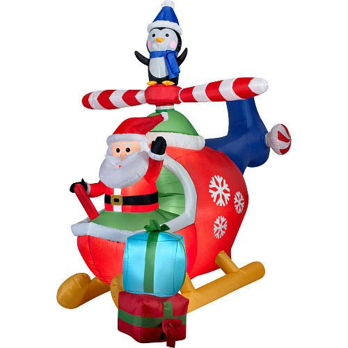 Animated Inflatable Santa Claus Flying Helicopter Penguins Scene 8' Xmas Decor #Unbranded
