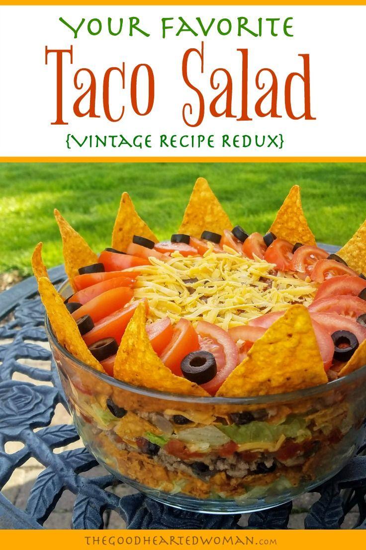 Favorite Layered Taco Salad Vintage Recipe Redux Recipe Layered Taco Salads Recipes Vintage Recipes
