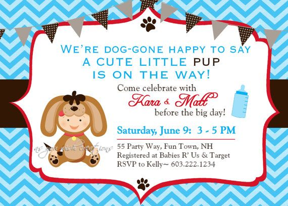 Dog Puppy Baby Shower Invitation Chevron by AsYouWishCreations4u