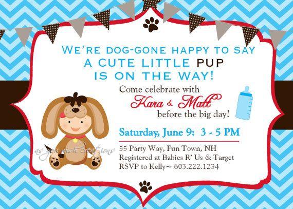 Dog Puppy Baby Shower Invitation Chevron by AsYouWishCreations4u