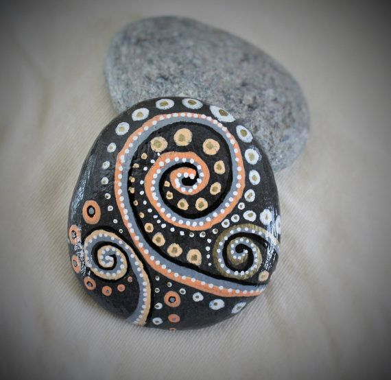 Black Rock (design), handcrafted, painted stone rock, stone rock art, sea stone