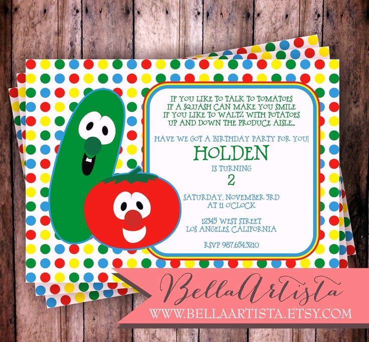 Veggietales Inspired Invitation, Vegetable Invite for Child's Birthday Party Veggie Tales. $15.00, via Etsy.