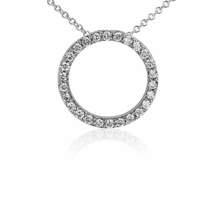 Open Circle Diamond Pendant in 9K White Gold (0.39ct tw)   The Diamond Channel, Johannesburg