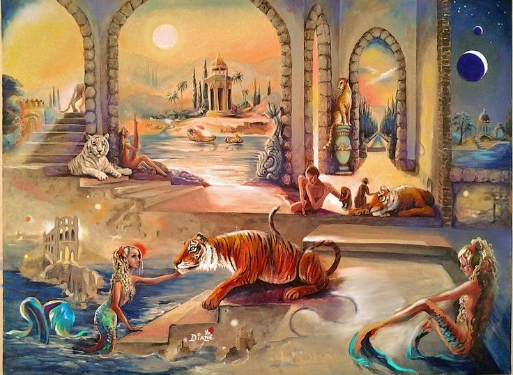 Moon Tiger Mermaid Worlds Painting