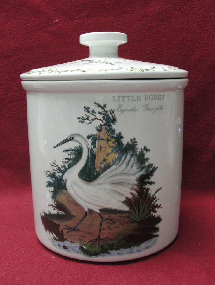 """PORTMEIRION CHINA - BIRDS OF BRITAIN Pattern - 9"""" CANNISTER CROCK / COOKIE JAR"""