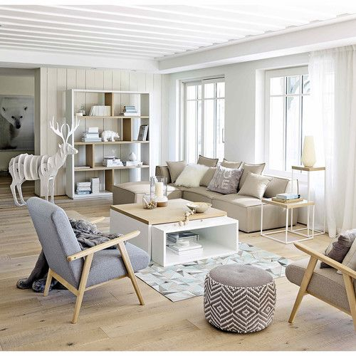 Cosy and bright living room in grey, beige and wood via Maison du Monde