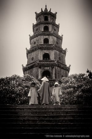 Vietnamese Family, Thien Mu Pagoda, Hue, Vietnam, Ben Ashmole  Another completely opportunist shot from Vietnam. I hadn't planned this to happen but as I was climbing the steps to the Thien Mu Pagoda in Hue, a man with 2 small girls wearing traditional dress walked over and stood in front of the Phuoc Dien Tower. Travel photography gold! All images creative comons non commercial. www.ashmolephotography.com