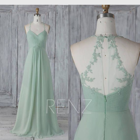 Bridesmaid Dress Dusty Mint Chiffon Wedding Dress Lace Halter Maxi Dress Ruched V Neck Party Dress Illusion Back A-Line Evening Dress (H589)