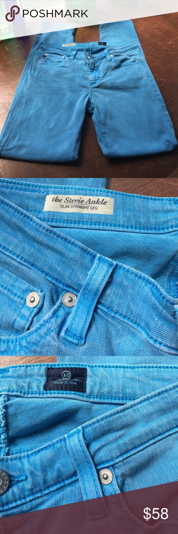 """Anthropologie AG Bright Blue Jeans Stevie Ankle Gorgeous jeans!!! 28R. Great condition!!! Waist approximately 32"""". Cotton/Tencel blend. Anthropologie Jeans Ankle & Cropped"""