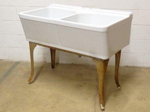 Vintage Crane Laundry Sink : Columbus Architectural Salvage - Crane Utility Sink & Stand