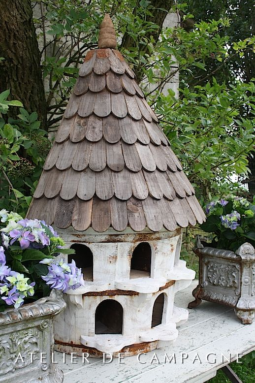 """Dovecote made out of wine barrel and reclaimed wood made in England Size 50""""H x 31""""W x 17"""" D"""