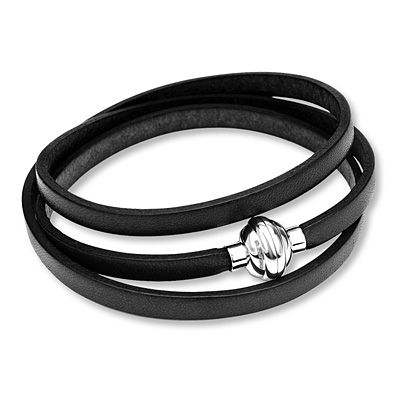 Black Leather Bracelet Stainless Steel