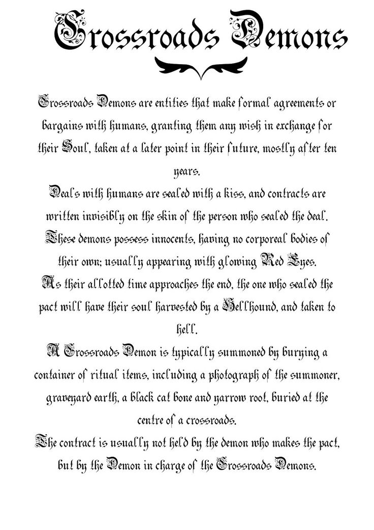 book of shadows images | Book Of Shadows Pages: Crossroads Demons