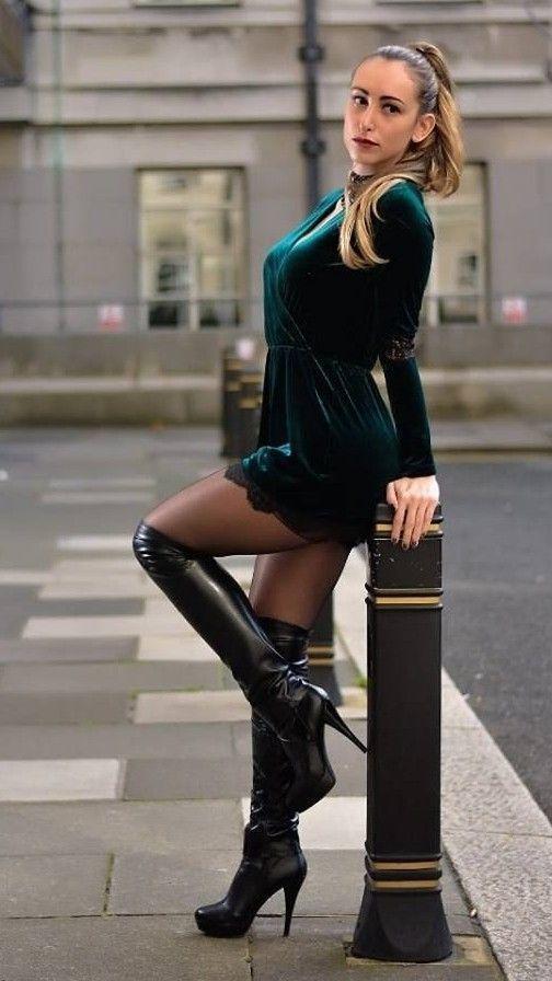 Green velour babydoll minidress and black OTK high heel boots #highheelslingerie #highheelbootsstockings #blackhighheelshot