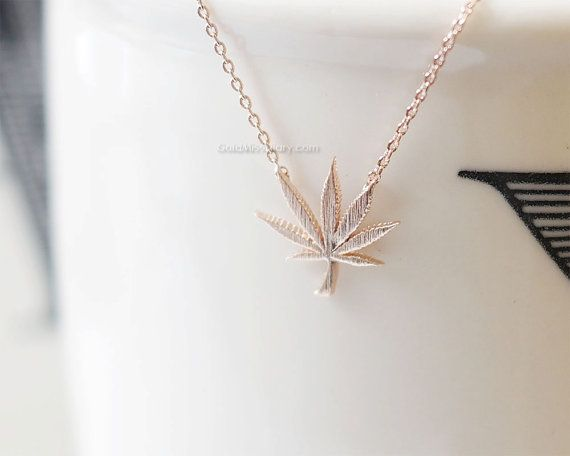 Rose Gold marijuana leaf necklace Rose Gold cannabis by MissDiary