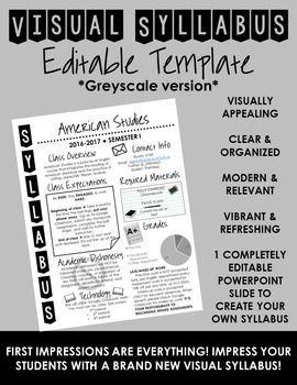 visual syllabus editable template create your own greyscale