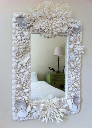 Rectangular Shell & Coral Mirror - I would like to do this with my shells and coral. What a great idea. I just may try it.
