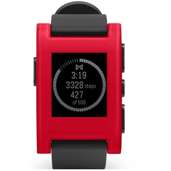 Pebble Smart Watch, 33mm ($100) ❤ liked on Polyvore featuring jewelry, watches, red, digital watches, digital wristwatch, pandora jewelry, womens jewellery and mens wrist watch