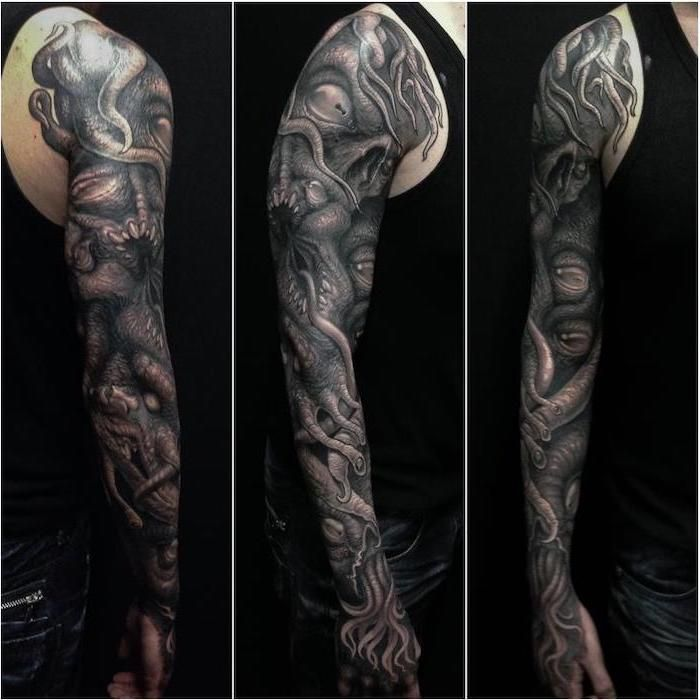 Large Black And White Monster Arm Sleeve Tattoo Back Tattoos For Men Black Top And Jeans Black Background Cthulhu Tatuaggi Man