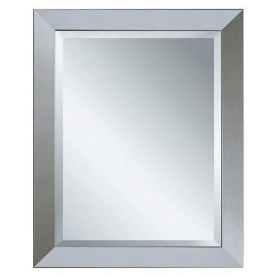 Master and Upstairs bath-Deco Mirror 40 in. x 28 in. Modern Wall Mirror in Brushed Nickel-6200 at The Home Depot