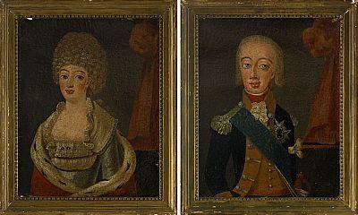 2493. PORTRÄTT, 1 par, Sverige omkring 1800-talets