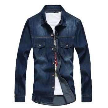 SUMMER 2015 new denim men shirts long sleeve men's denim shirt for men new fashion brand jeans shirt plus size MS233