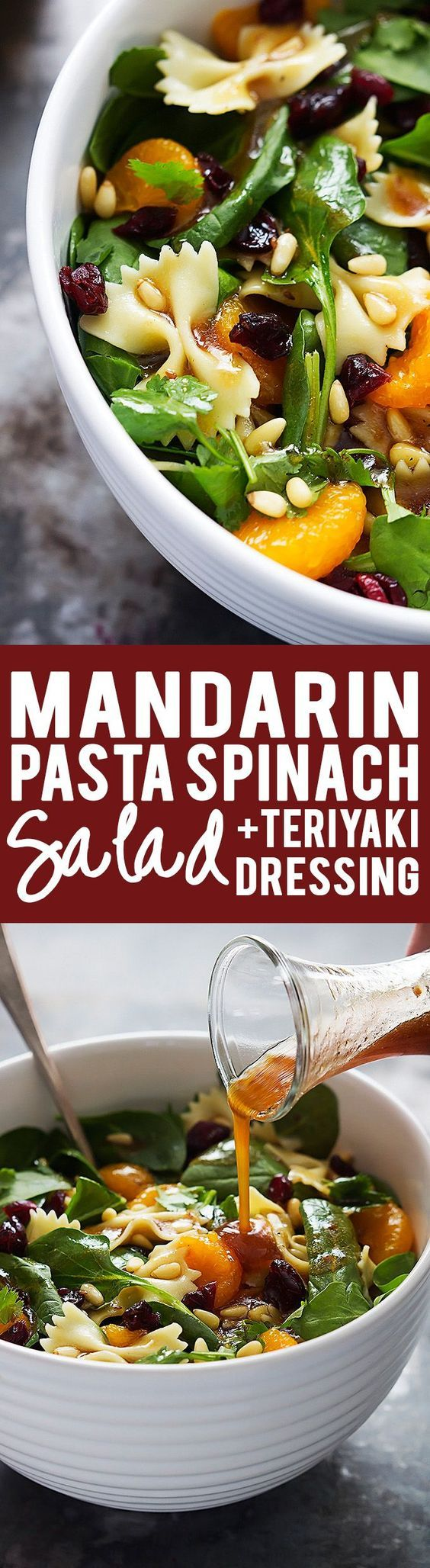 Mandarin Pasta Spinach Salad with Teriyaki Dressing. Looks like the perfect side to take to a backyard barbecue