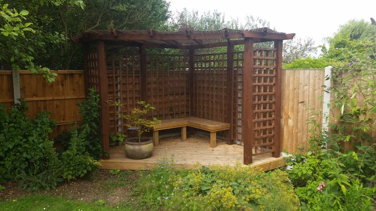 corner pergola ideas google search gardening corner. Black Bedroom Furniture Sets. Home Design Ideas