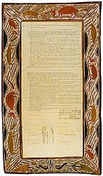 Yirrkala bark petitions 1963 (Cth), p1bark. These are the first documents bridging Commonwealth law as it then stood, and the Indigenous laws of the land.