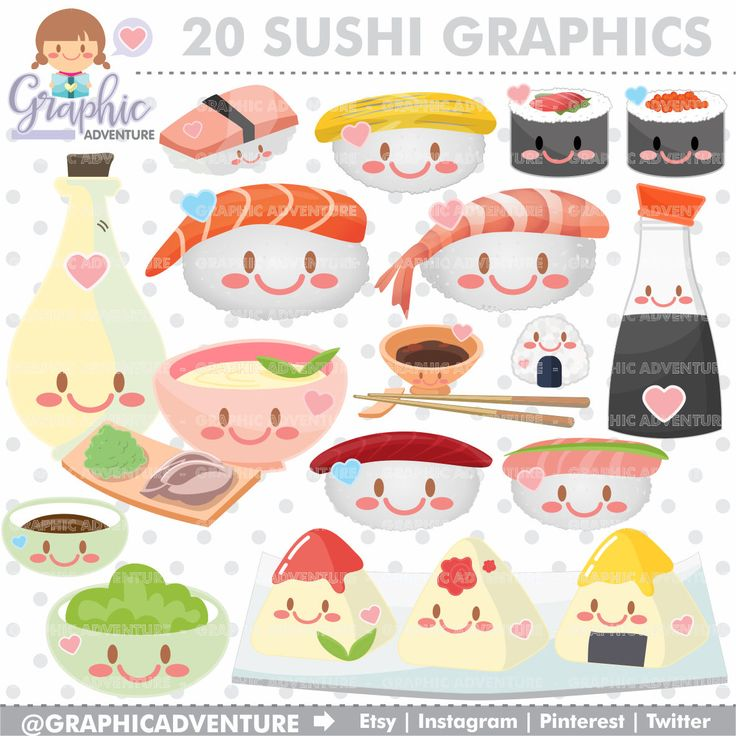 75%OFF - Sushi Clipart, Sushi Graphics, COMMERCIAL USE, Kawaii Clipart, Food Truck, Oriental Food, Chinese Food, Planner Accessories