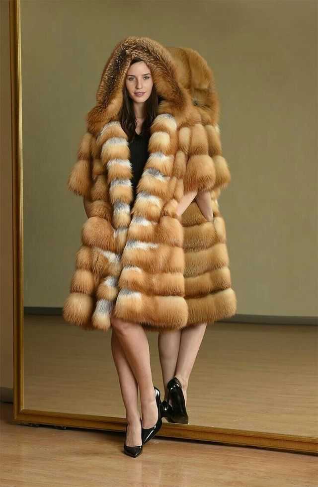Red Fox Fur Hooded Coat