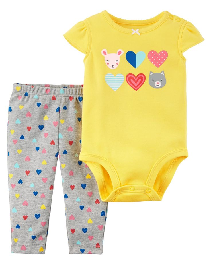 Just in time for Valentine's Day, this 2-piece set features a flutter-sleeve bodysuit and soft cotton pants for all-day comfort!