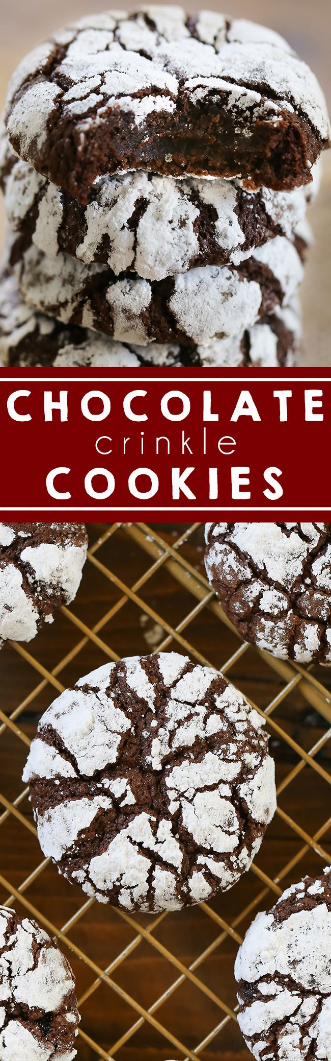 Chocolate Crinkle Cookies - Swanky Recipes - Chewy Fudge like cookies that will melt in your mouth. Perfect for the Christmas holiday season and baking. #holidaybaking #christmascookies #chocolate