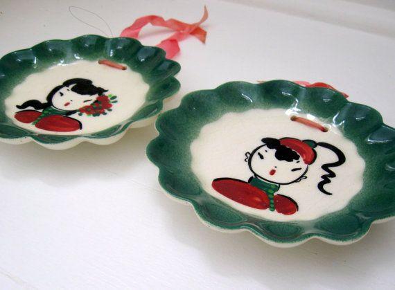 Set di 2 ragazza di piatti decorativi appeso a parete