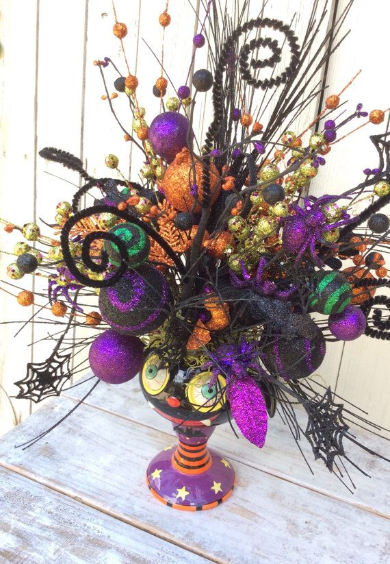 lovely halloween centerpiece for the hall mantle or dinging table this sweet halloween ceramic goblet is filled to the brim with beautiful glittter stems - Halloween Centerpieces