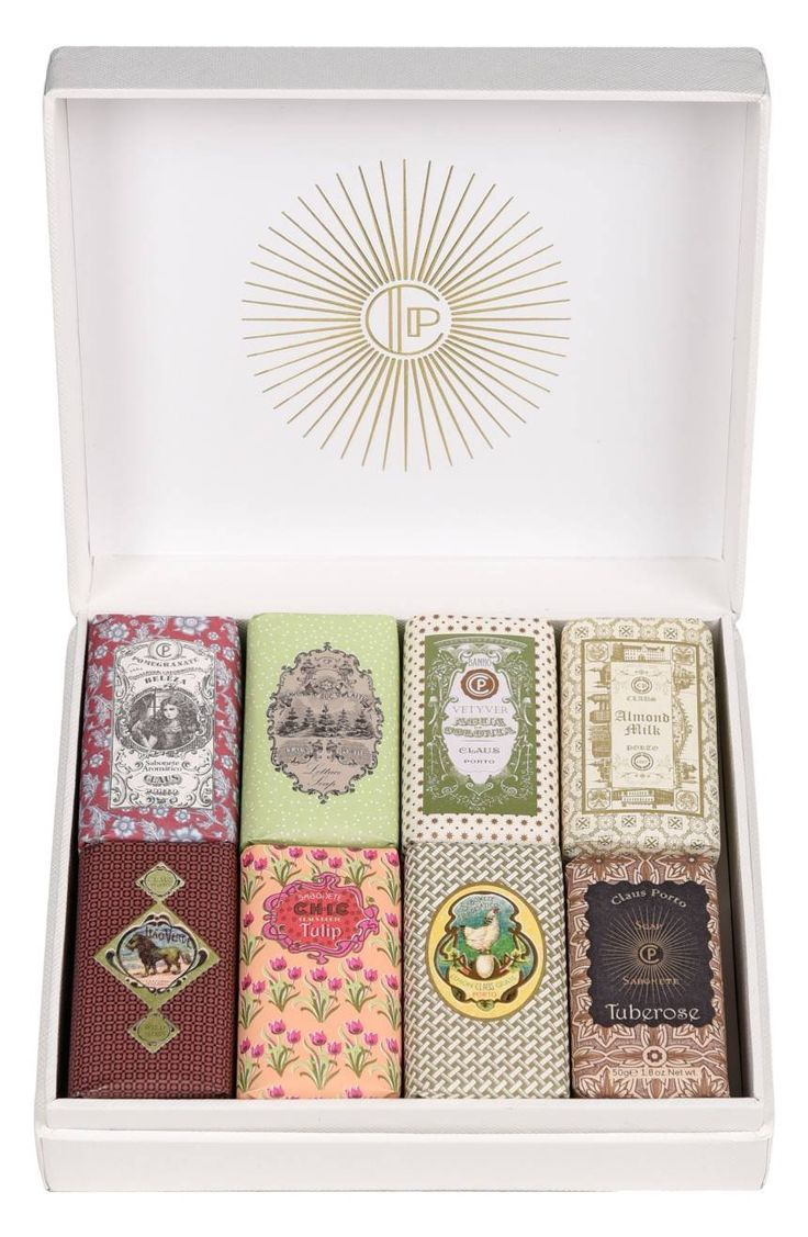 A selection of eight miniature soaps from Claus Porto's Classico collection, presented in an elegant box perfect for giving.