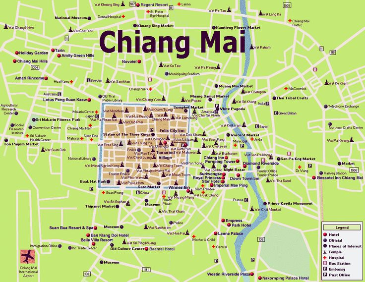 Chiang Mai Thailand Map - This is a great city.  This brought back many great memories.