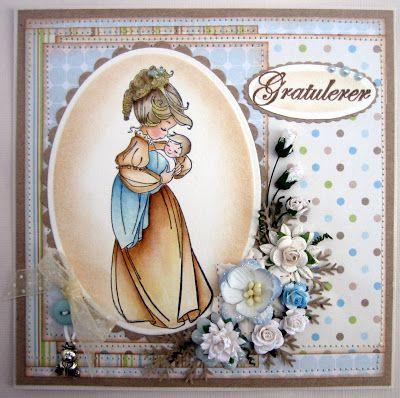 Annes lille hobbykrok: WOJ, Baby card, boy, Distress Ink