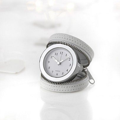 Leather Travel Clock - White