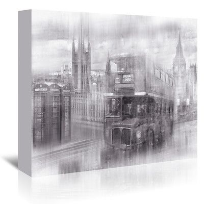East Urban Home City Art London Westminster Collage Monochrome Graphic Art on Wrapped Canvas