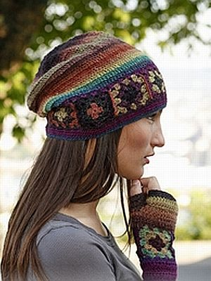 crochet pattern - hat with squares plus gloves and scarf to match