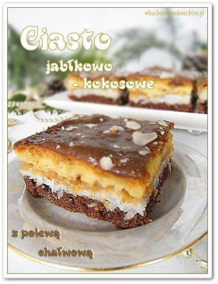 Ciasto nie jest za słodkie, mięciutkie, wilgotne za sprawą jabłek. Polewa chałwowa jest tutaj wręcz konieczna, bo bardzo ubogaca je smakowo.  Dodatkowym walorem tej pyszności jest szybkie wykonanie i efektowny wygląd.