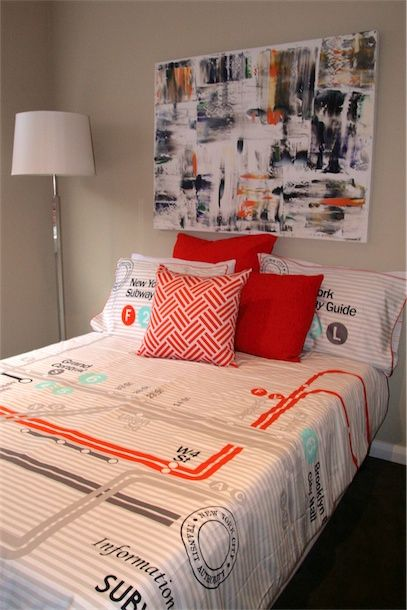 Orange abstract For Design Art House, painted 2013. Orange accessories used for guest bedroom styling. www.designarthouse.com.au