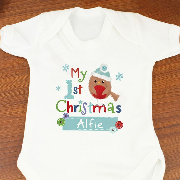 59 best personalised christmas gifts images on pinterest personalised felt stitch robin my first christmas baby vest is perfect to celebrate your babys first negle Image collections